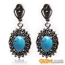 Elegant Oval Gemstone Tibetan Silver Marcastie Vintage Huggie Dangle Earrings