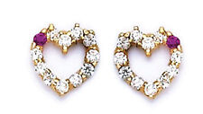 14k Gold Earrings Heart Screw Back very unique  on sale this week