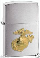 USMC Marine Corps EGA Brass Emblem Military Chrome Zippo Lighter ~ Semper Fi