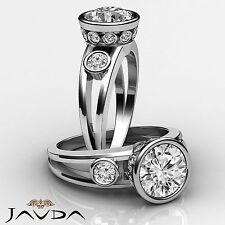 Round Cut Bezel Set Diamond Three Stone Engagement Ring GIA F SI1 Platinum 1.5ct