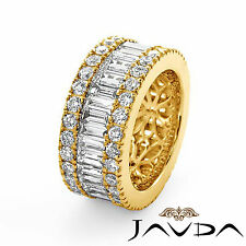 Womens Wedding Ring Baguette Round Diamond Eternity Band 14k Yellow Gold 5.7Ct