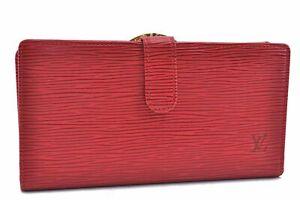 Authentic Louis Vuitton Epi Continental Viennois Wallet Red M63257 LV D1357