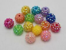 100 Pcs Mixed Colour Acrylic Rhinestone Pave DISCO Ball Beads 14mm Spacer