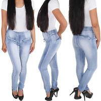 Damen Skinny Jeans Röhrenjeans Slim Fit Damen Hose hoher Bund Stretch Blau