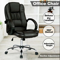 High Back Executive Office Chair Computer Gaming PU Leather Chair Seating Black