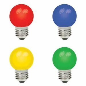 Coloured Incandescent Golf Ball Bulbs 15w Edison Screw Cap E27 Multipack of 4 GE