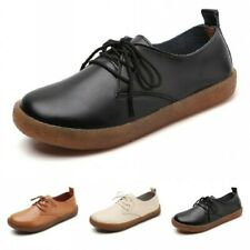 Ladies Mom Flat Shoes Round toe Lace up Flats Ladies Moccasins Casual Comfort B