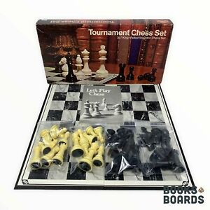 """Tournament Chess Set 3 1/8"""" King Felted Staunton   E.S. Lowe   1974   Complete"""