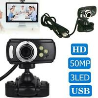 Full HD USB 50.0M Webcam Video Camera & Microphone Quality For PC Laptop I4P3