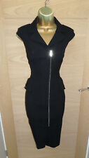 STUNNING BLACK KAREN MILLEN PEPLUM ZIP WIGGLE DRESS UK 10 EU 38 PENCIL OCCASION