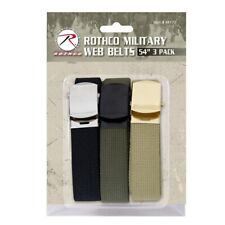 54 Inch Black Cotton Military Web Belt 3 Pack With Buckles 4709 Rothco