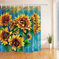 Oil Painting Sunflower Fabric Shower Curtain & 12 Hooks Extra Long 69x84 inch