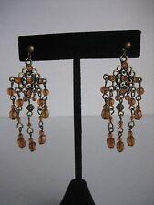 Topaz Color Bead Chandelier Earrings Chic Chandelier Pierced Gold Antique Metal
