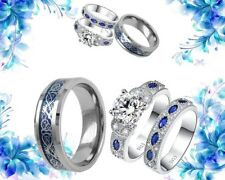 His Titanium And Her Cz Sterling silver blue Bridal Engagement Wedding Ring Set