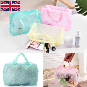 Womens Waterproof Cosmetic Makeup Toiletry Clear PVC Wash Bag Travel Handbag UK