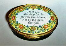 "Staffordshire English Enamel Box - ""Count Your Blessings"" - Flowers - Mib"