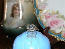 ANTIQUE 14K WHITE GOLD FILIGREE EMERALD CUT WHITE SAPPHIRE RING ART DECO 1920'S