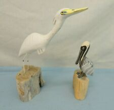 LOT OF 2 WOOD CARVED AQUATIC BIRDS MOUNTED ON DRIFTWOOD CHUNKS EGRET PELICAN