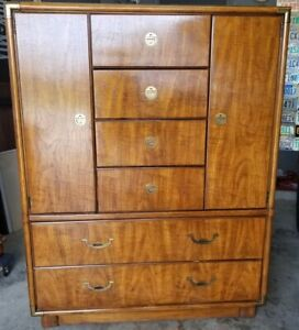 MCM Drexel Accolade Campaign Style 6 Drawer Armoire Tall Chest Dresser 905-402
