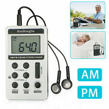 Portable Digital Pocket LCD AM/FM Radio Rechargeable with Earphone Silver US