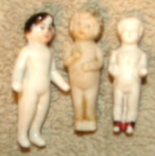 3 ANTIQUE FROZEN CHARLOTTE DOLLS -2 Bisque (1 is broken) 1 Glazed