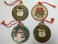 Four Vintage Metal Disc Painted Christmas Ornaments Santa, Bell, and Holly