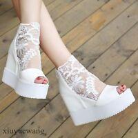 Womens Lace Peep Toe Platform High Wedge Heel Breathable Shoes Back Zip Sandals