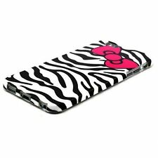 For iPhone 6 / 6S -HARD RUBBER GUMMY SKIN CASE COVER BLACK ZEBRA HELLO KITTY BOW