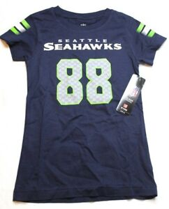 NFL Girls Jimmy Graham Seattle Seahawks V-Neck T Shirt Medium M 10-12 Navy NWT