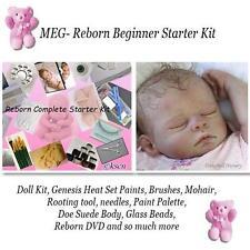 MEG REBORN Starter Beginner Kit, Genesis paints, Mohair, BODY, DVD, DIY DOLL