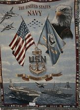 `US NAVY SEA POWER` Woven TAPESTRY Throw Blanket - Fringed USN