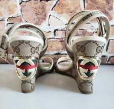 🌹$750 Gucci Rare GG Logo EU 38 US 8 Monogram Canvas Wedge Sandals Stripes Gray