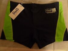 D&G  DOLCE & GABBANA SWIM TRUNKS NAVY/GREEN ITALY TAG SIZE 5 US M FITS 32-33