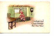 Young Girl at Window Looking Outside-Happy New Year Holiday Vintage Postcard