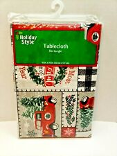 Red Truck Farm Vinyl Christmas Holiday Tablecloth Flannel Backing 60� New