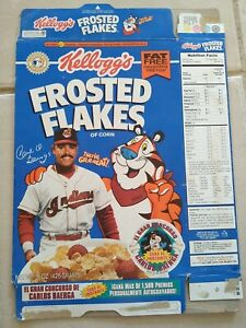 Kellogg's Frosted Flakes Carlos Baerga MLB Cereal Carton Box Puerto Rico 1995