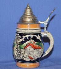 Vintage West Gemany Glazed Pottery Beer Lidded Stein Mug Tankard