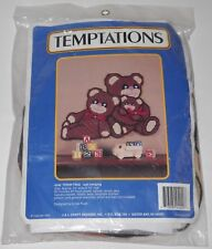 Temptations Plastic Canvas Needlework Kit #4240 Teddy Trio Wall Hanging
