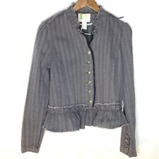 UO Silence Noise Cropped Button Front Military Jacket L Gray Linen Blend Read
