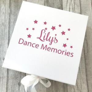 PERSONALISED DANCE MEMORIES White GIFT BOX Ribbon tie, Hobby KEEPSAKE MEMORY Box