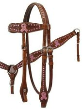 SHOWMAN Headstall and Breast Collar with Pink Ribbon Crystal Rhinestone Conchos