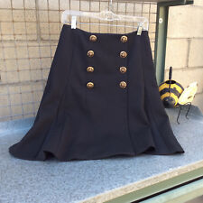 Etcetera Black Skirt with Gold Buttons Size 4