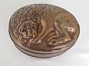 Antique Copper Lion  Mold Container Box