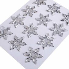 12pcs Self Adhesive Clear 25mm Snowflake Acrylic Gems (CB104)