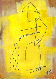 21022565 e9Art ACEO Abstract Figurative Minimalism Outsider Art Painting Brut