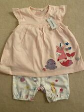 Baby Girls White Sea Life Nautical Themed Cotton Playsuit Size 0-3 Months