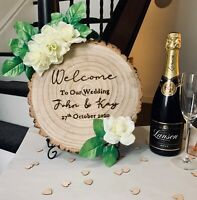 Large Rustic Engraved Wedding Party Sign Tree Slice Any Text with Roses & Stand