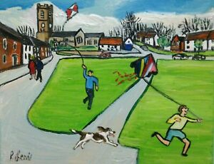 """PHIL LEWIS- LETS GO FLY A KITE ON THE VILLAGE GREEN -8x10"""" 25x20cm Northern Art"""