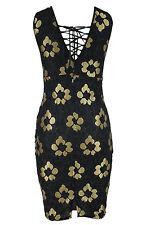 Abito a cono ricamato Scollo trasparente nudo Lace Embroidered Bodycon Dress M