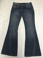 Womens TRUE RELIGION Dark Wash Twisted Flare JOEY Jeans Sz 26